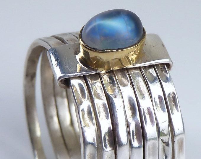 7-Stack RAINBOW MOONSTONE Ring Solid Silver SilverSari YSTR1009