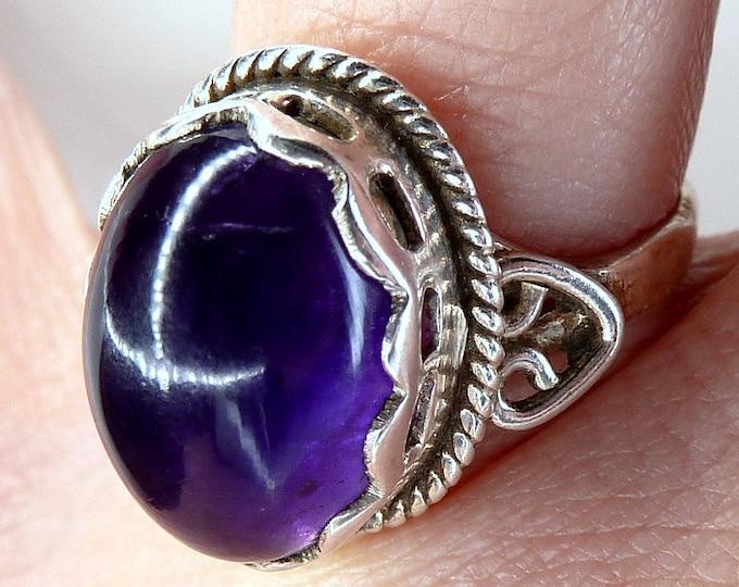 AMETHYST Gemstone Ring Solid Silver (US 6 1/4) SilverSari YGR1132