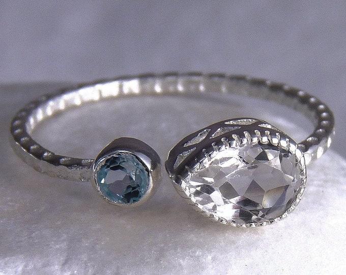 WHITE + BLUE TOPAZ 2-Gem Wrap Ring Solid Silver SilverSari YGR1112