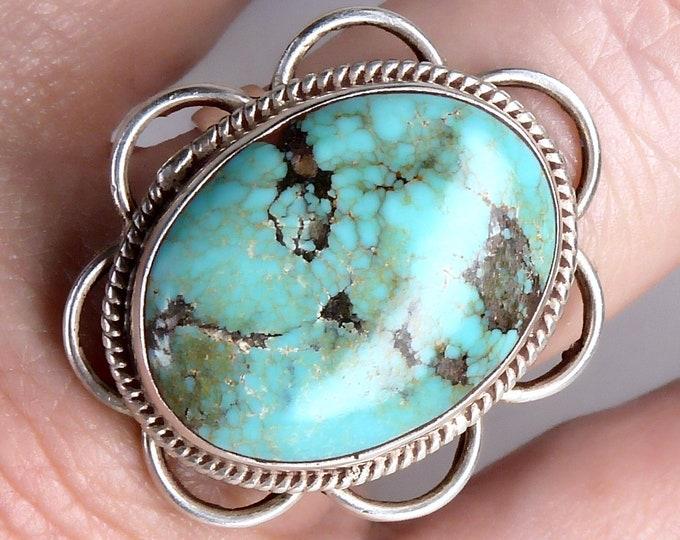 TIBETAN TURQUOISE Gem Ring Solid Silver (US 7 1/2) SilverSari YGR1119