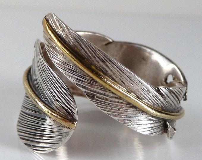 SILVER FEATHER Leaf Wrap Solid Silver + Brass Ring SilverSari YSAR1046