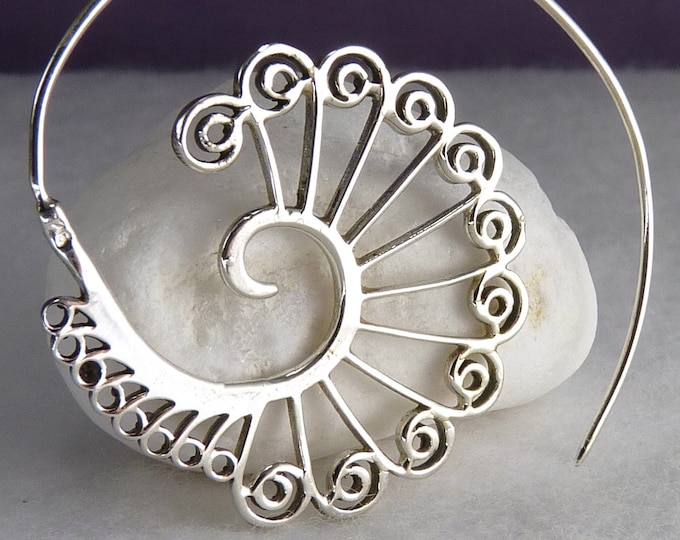 Open Spiral PEACOCK TAIL Hoops Creoles YES1020