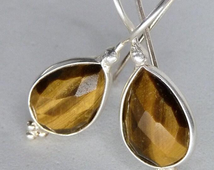 TIGER EYE Drop Earrings Stg Silver SilverSari YEG1098