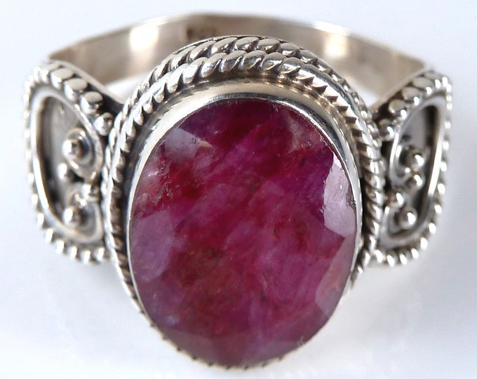 INDIAN RUBY Filigree Lace Feature Ring US 9 1/4 Solid Silver SilverSari YGR1067