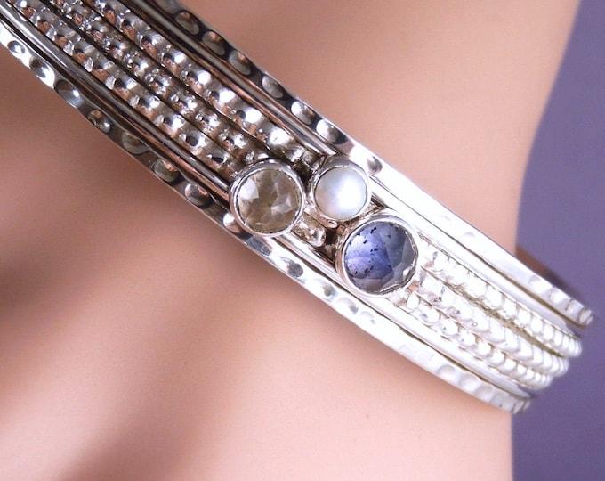 SPINNER Spinning Gemstone Bangle Solid Silver SilverSari YBSG1002