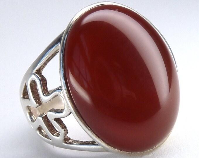 RED ONYX Jali Cast Daisy Ring Solid Silver (US 9) SilverSari YGR1208