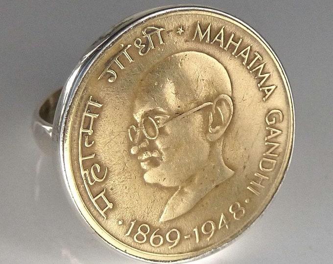 GANDHI Indian Coin + Solid Silver Feature Ring (US 7.5) SilverSari YSAR1022