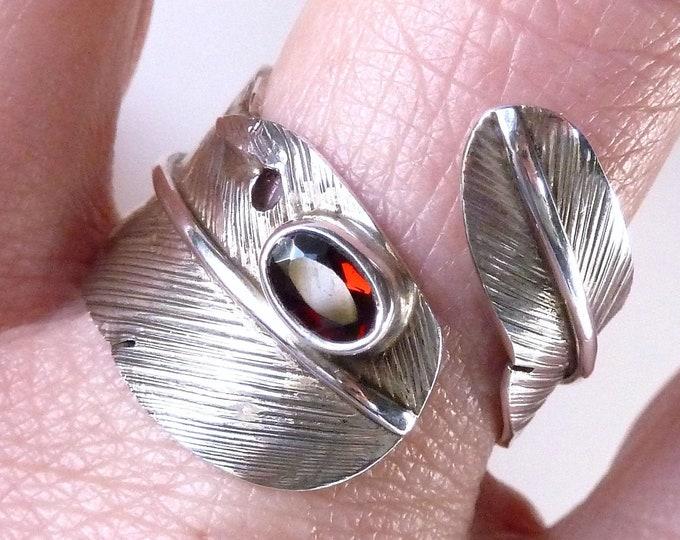 GARNET FEATHER Wrap Solid Silver Ring (US 9-11) SilverSari YSAR1082