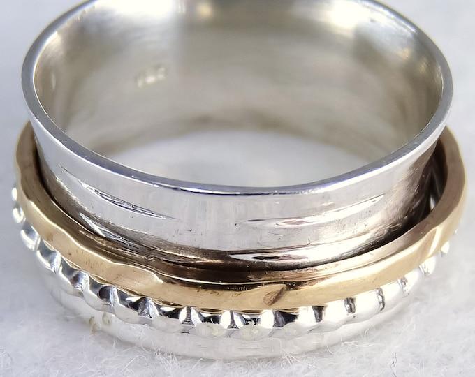 Narrow 2-Spin GRANULE Spinner Fidget Ring Solid Silver + Brass SilverSari YSPR1079