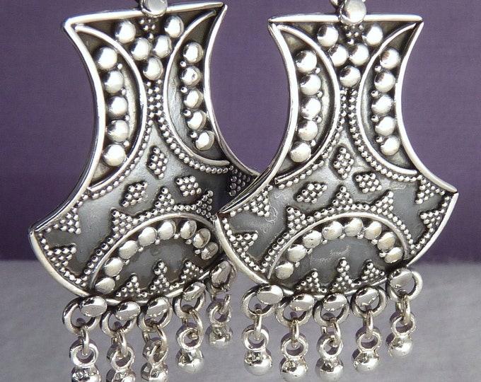 Granulated JHUMKA Ghungroo Earrings Solid Silver SilverSari YES1049