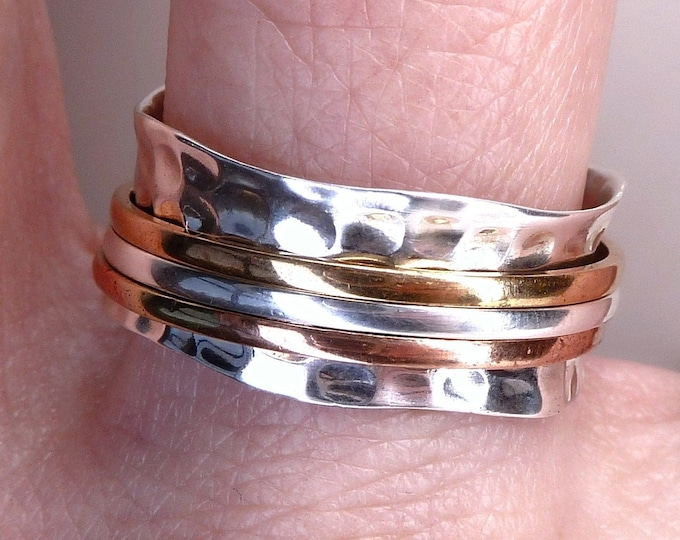NARROW WAVE 3Spin Spinner Ring Solid Silver SilverSari YSPR1039