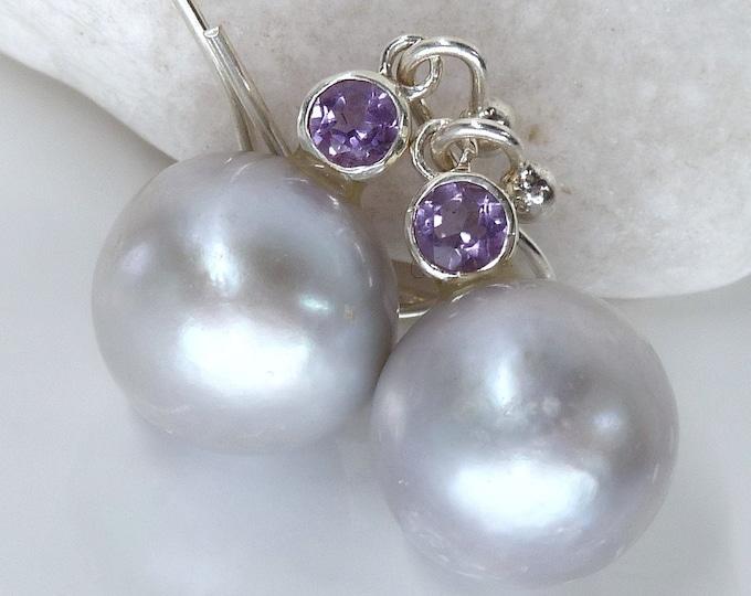 PEARL/AMETHYST SPHERE Earrings Solid Silver SilverSari YEG1400