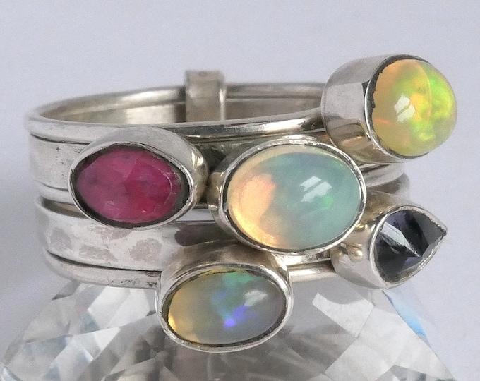 5-Stack Multigem Ring SILVERSARI Sterling Silver OPAL YSTR1005