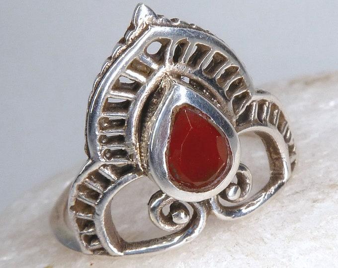 CARNELIAN + Solid Silver Solitaire Ring (US 6 3/4) SilverSari YGR1027