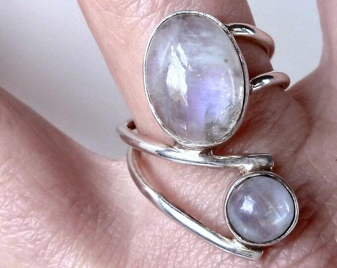 MOONSTONE Statement Wrap Ring Size (US 9) Solid Silver SilverSari YGR1112