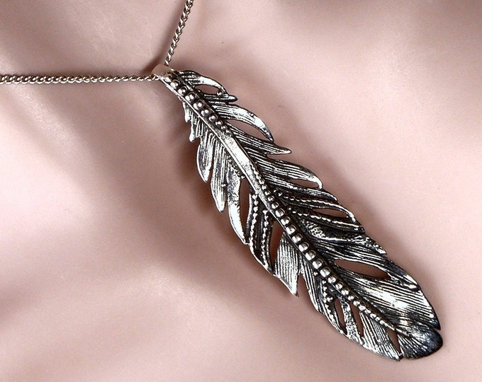 Granulated 'Feather' Pendant Solid Silver SilverSari YPS1102