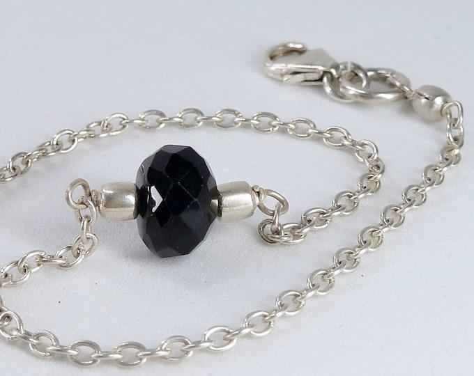 BLACK ONYX Bead + Solid Silver Linked Bracelet SilverSari YBG1093