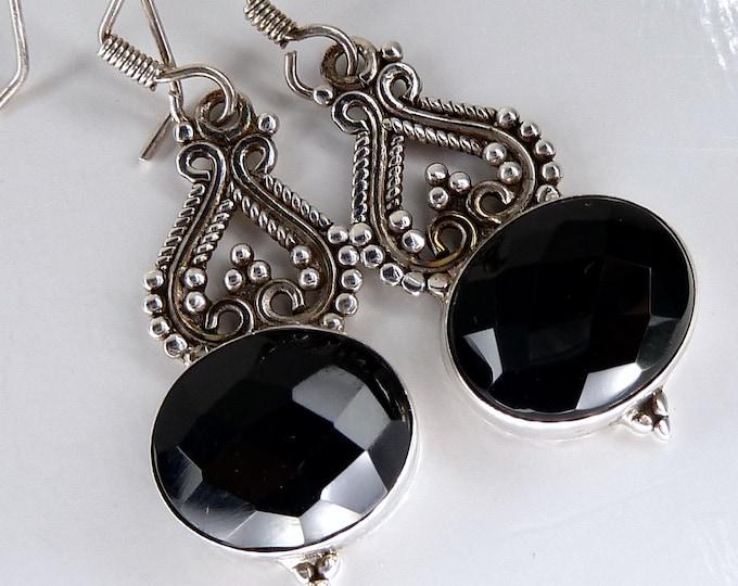 BLACK ONYX Sterling Silver Earrings Filigree Chandelier SilverSari YEG1331