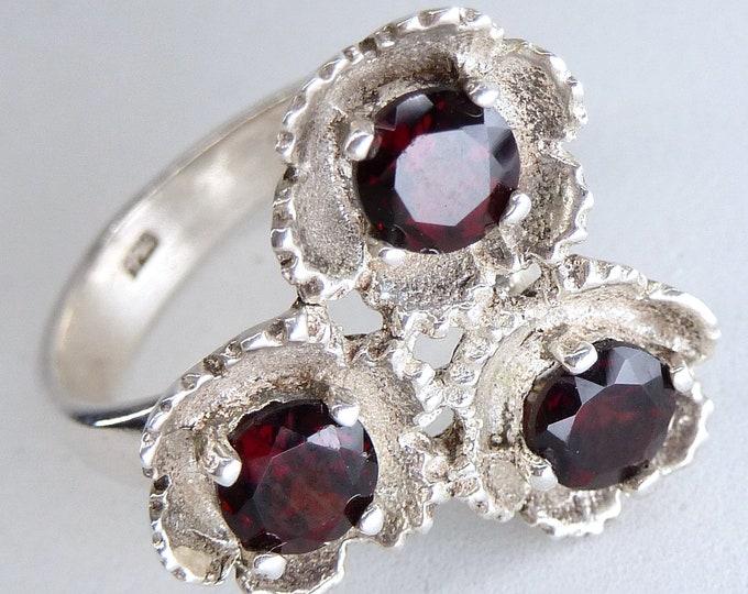 GARNET Posie Gemstone Ring Solid Silver SilverSari YGR1133