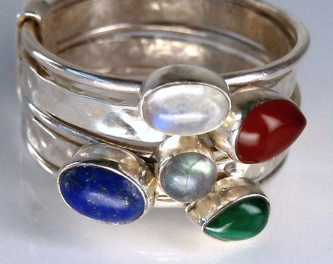 MULTIGEM 5-Stack Sterling Silver Ring (US 12) SilverSari YSTR1018