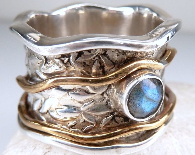 LABRADORITE Embossed Spinner Ring Silver + Brass (US 7 1/4) SilverSari YSPR1073