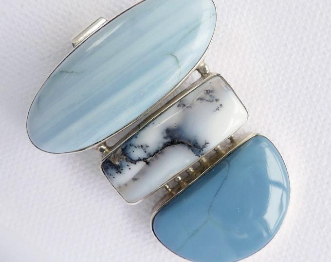 Blue Opal, Dendritic & Blue Lace Agate ~ Large Gemstone Pendant ~ Stg Silver SilverSari YPG1091