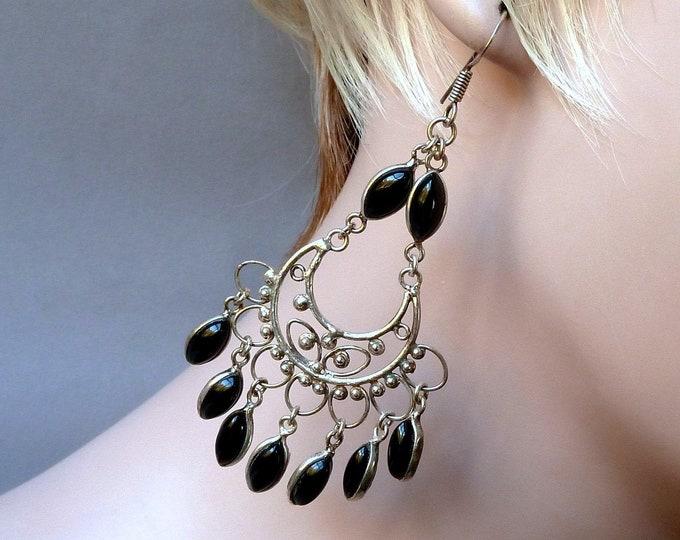 BLACK ONYX Vintage Chandelier Earrings Solid Silver YES1343