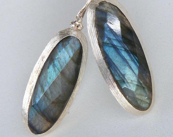 LABRADORITE Gemstone Solid Silver Hook Earrings SilverSari YEG1339
