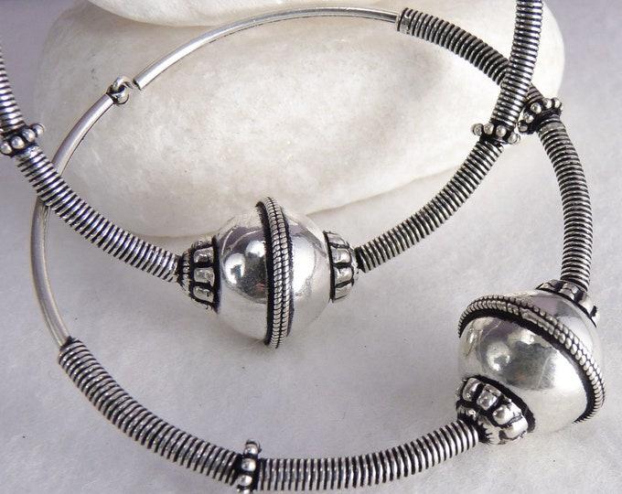 LARGE TRIBAL Hoops Creoles Earrings Solid Silver SilverSari YES1113