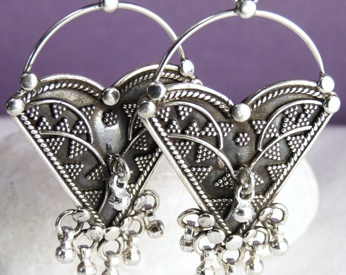 Granulated JHUMKA Ghungroo Earrings Solid Silver SilverSari YES1121