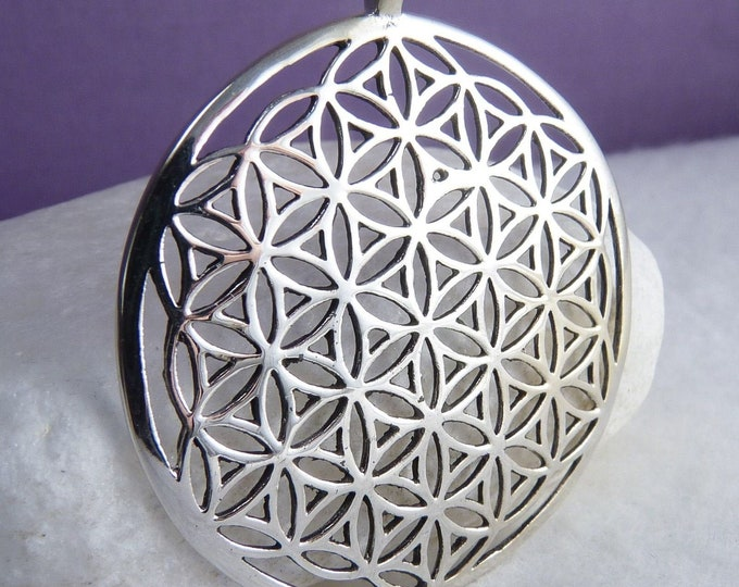 Domed FLOWER OF LIFE SilverSari Pendant Meditation Solid 925 Stg Silver YPS1041