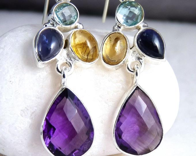 AMETHYST + MULTIGEM Chandelier Gemstone Earrings Solid Silver SilverSari YEG1147