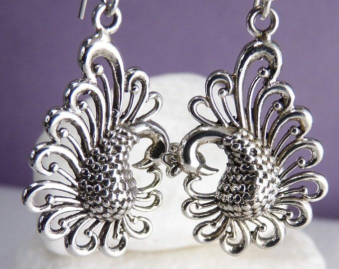 PEACOCKS Cast Hook Earrings Solid Silver SilverSari YES1110