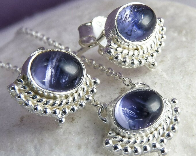 IOLITE SET (Earrings + Necklace with Pendant) Solid Silver SilverSari YEPS1003