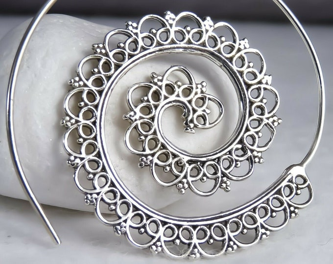 Lace Edge Open Spiral SilverSari Hoops #2 Solid 925 Sterling Silver YES1200