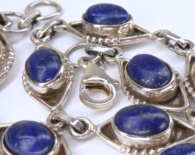 LAPIS LAZULI + Solid Silver Linked Bracelet SilverSari YBS1078