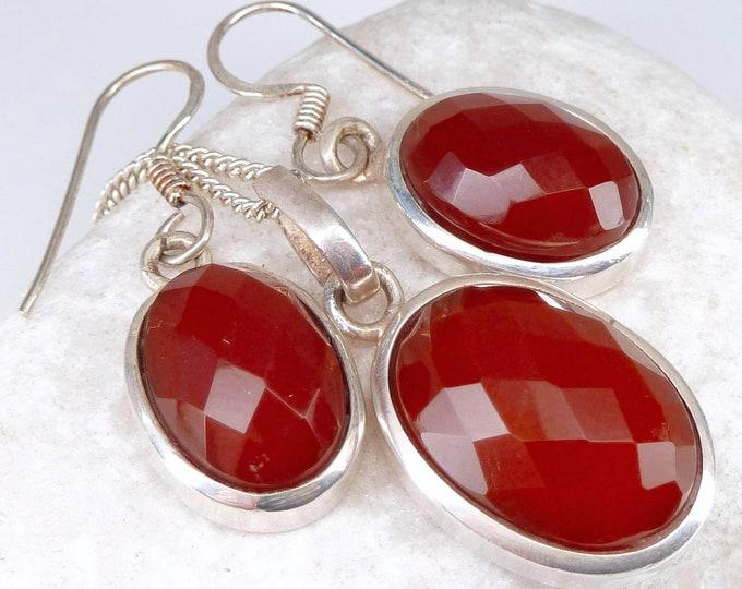 CARNELIAN Earrings + Pendant SET Solid Silver SilverSari YEPS1004