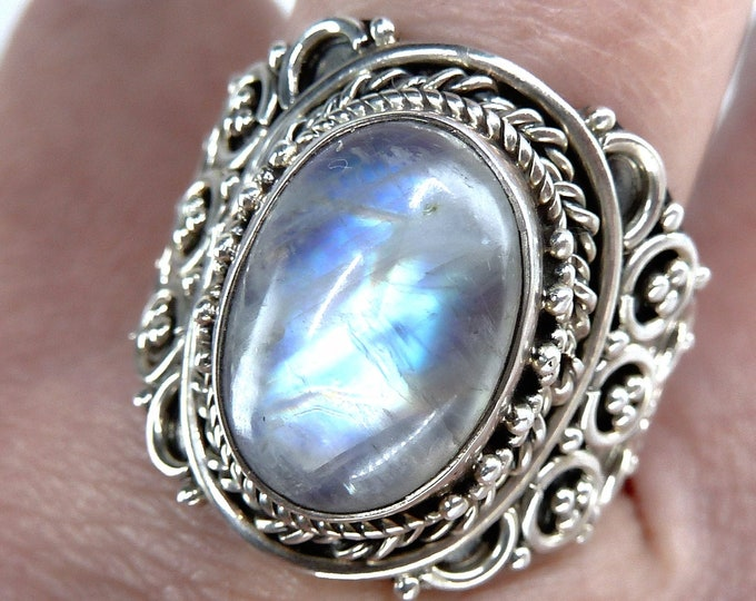 RAINBOW MOONSTONE Statement Ring (US 9 3/4) Solid Silver SilverSari YGR1120