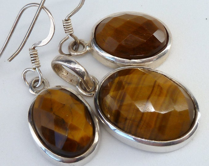 TIGER EYE Earrings + Pendant SET Solid Silver SilverSari YEPS1007