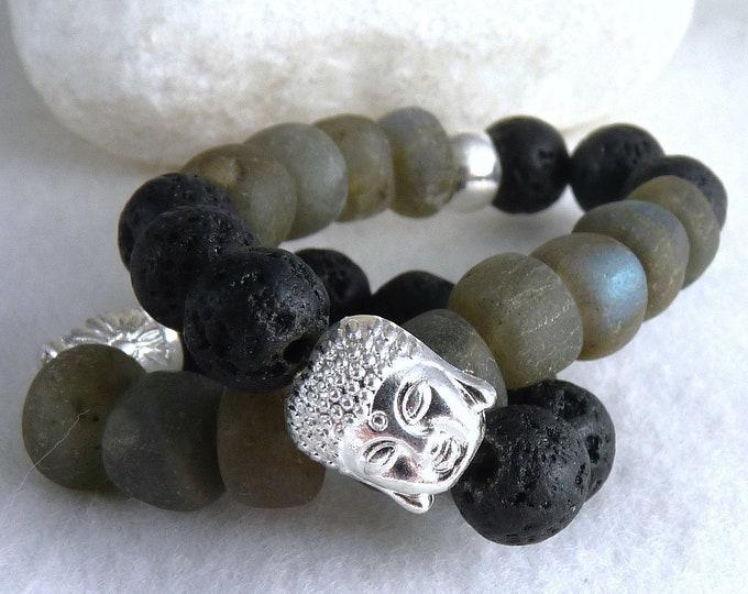 LAVA STONE + LABRADORITE Aromatherapy Diffuser Buddha Bracelet (S/M/L) YBG1012