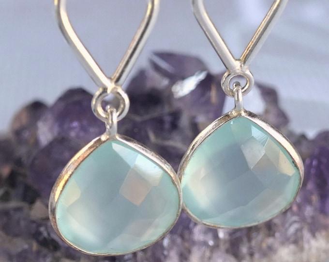 CHALCEDONY Stg Silver Earrings Studs ~ Drop Linked Gem ~ SilverSari YEG1264