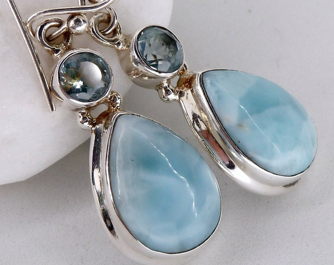 LARIMAR & BLUE TOPAZ 2-Gem Hook Earrings ~ YEG1184