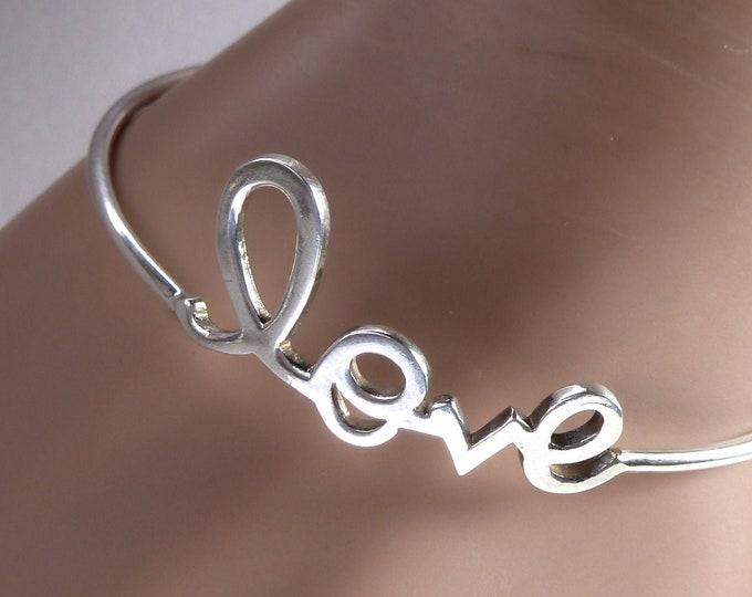 LOVE ~ Silver Bangle Bracelet Cuff (S/M) SilverSari YBS1064