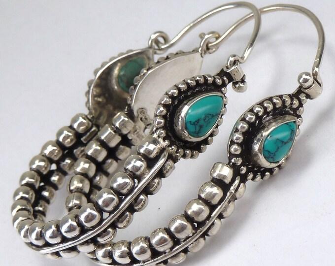 TURQUOISE Large 'Tribal Swings' Solid Stg Silver Hoops Creoles Earrings YES1258