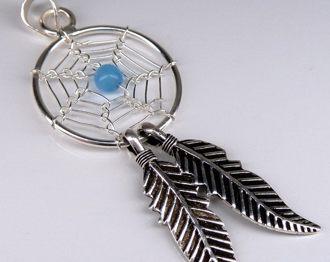 CHALCEDONY DREAM-CATCHER Pendant Solid Silver YPG1084