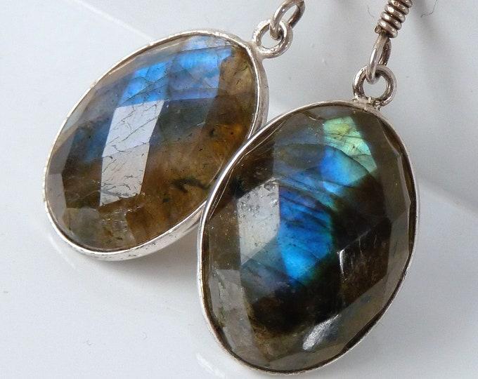 LABRADORITE + Solid Silver Gemstone Oval Earrings SilverSari YEG1263