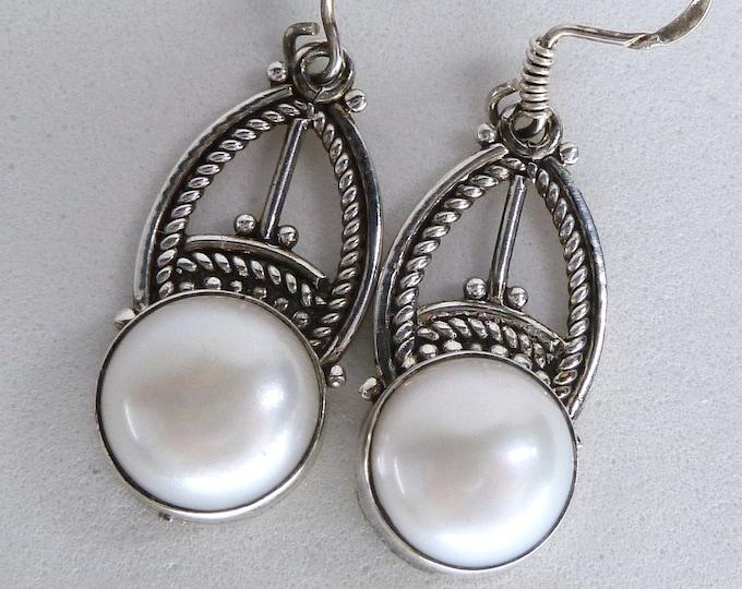 PEARL Sterling Silver Earrings Gemstone Chandelier SilverSari YEG1288