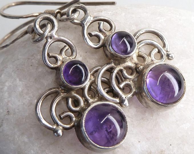 AMETHYST Solid Silver Filigree Chandelier Earrings SilverSari YEG1337