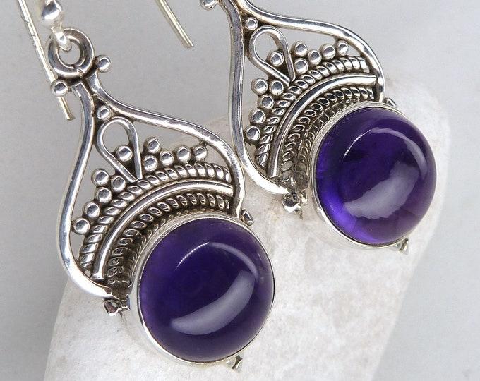 AMETHYST Earrings + Pendant SET Solid Silver SilverSari YEPS1009
