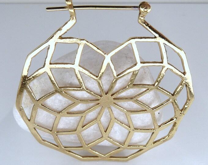 SEED of LIFE Creole Hoops Brass Earrings (Lge) SilverSari YEB1002